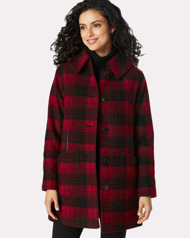 PLAID CLUB COLLAR COAT, RED/BLACK PLAID, large