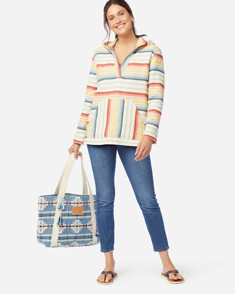 ALTERNATE VIEW OF WOMEN'S SURF STRIPE HOODED PULLOVER IN NATURAL/RED/GOLD