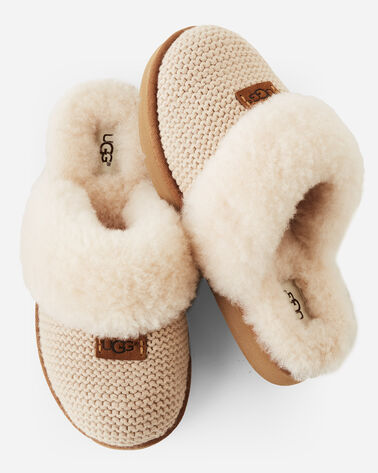 COZY KNIT SHEEPSKIN-LINED SCUFF SLIPPERS, CREAM, large