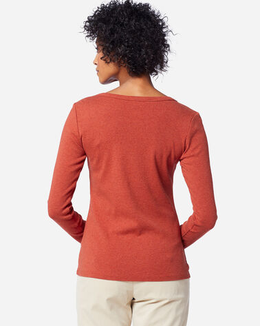 WOMEN'S LONG-SLEEVE COTTON RIBBED TEE, PICANTE HEATHER, large