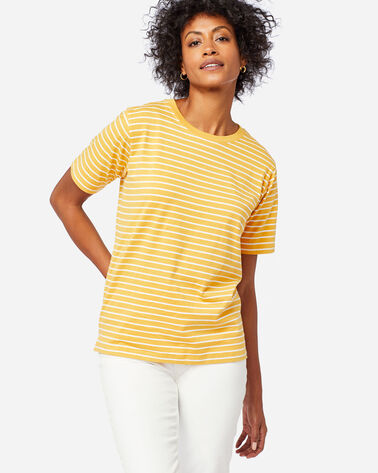 WOMEN'S DESCHUTES STRIPE TEE IN MARIGOLD/WHITE