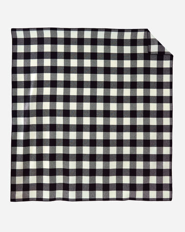 ECO-WISE WOOL PLAID/STRIPE BLANKET IN ROB ROY IVORY LAYING FLAT