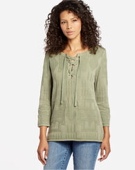 TOMMY BAHAMA & PENDLETON LACE UP TEE, TEA LEAF, large