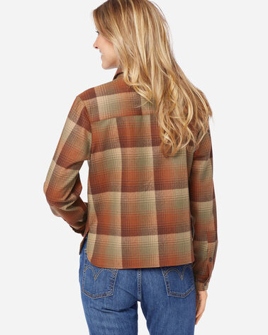ADDITIONAL VIEW OF WOMEN'S CROPPED BOARD SHIRT IN PUMPKIN/BROWN OMBRE