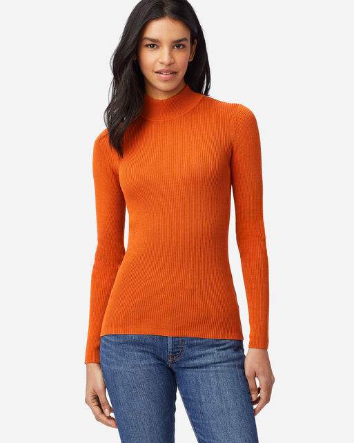 WOMEN'S RIB MOCK NECK PULLOVER IN BAKED CLAY