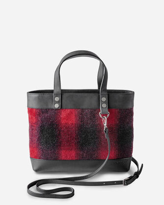 BUFFALO CHECK WOOL BAG WITH STRAP, RED/BLACK OMBRE, large