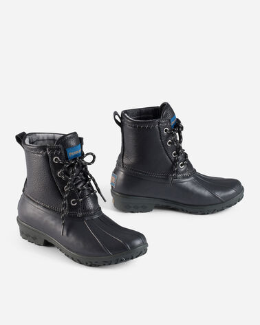 LEATHER UPPERS DUCK BOOTS IN BLACK