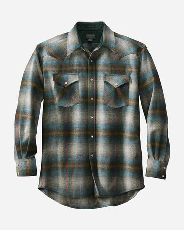 SNAP-FRONT WESTERN CANYON SHIRT, GREY/TEAL OMBRE, large