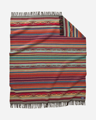 CHIMAYO THROW, GARNET/GREY STRIPE, large