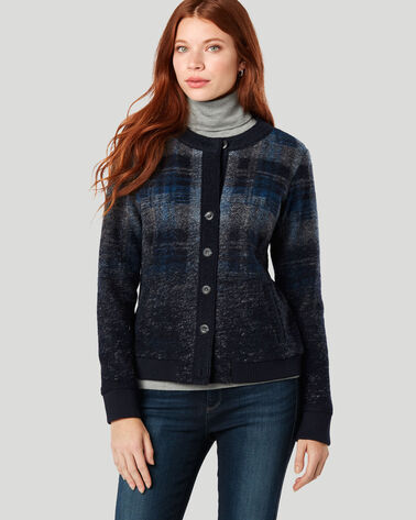 BOILED WOOL PLAID BOMBER, BLUE/GREY PLAID, large