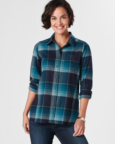 MEREDITH PLAID SHIRT, TURQUOISE/NAVY PLAID, large