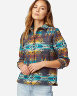 WOMEN'S JACQUARD LODGE SHIRT IN BLUE PILOT ROCK