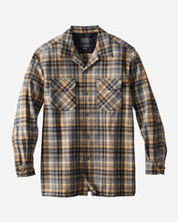 MEN'S FITTED BOARD SHIRT, TAN/GREY MIX PLAID, large