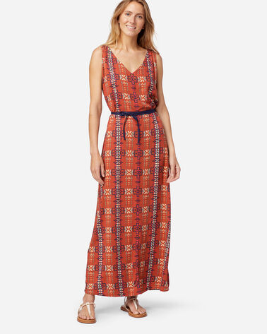 SLEEVELESS PATTERNED MAXI DRESS IN RED OCHRE