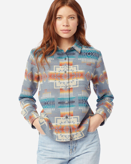 WOMEN'S JACQUARD LODGE SHIRT IN SLATE BLUE JACQUARD