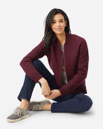 WOMEN'S BOILED WOOL BOMBER JACKET IN WINE