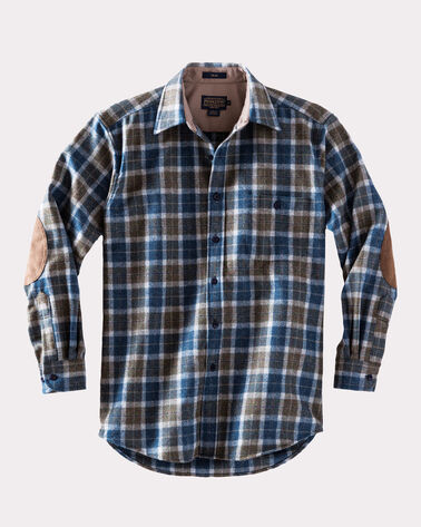 ELBOW-PATCH TRAIL SHIRT, TAUPE/BLUE MIX PLAID, large