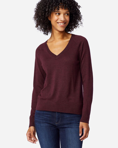WOMEN'S TIMELESS MERINO V-NECK SWEATER IN RUSTIC PLUM HEATHER
