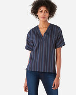WOMEN'S STRIPE WOOL POPOVER SHIRT, NAVY, large