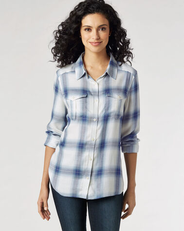 ERIN SOFT PLAID SHIRT, BLUE OMBRE PLAID, large