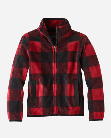 KIDS' FULL ZIP MOCK NECK JACKET, RED BUFFALO CHECK, large