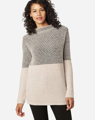 TEXTURED FUNNEL NECK PULLOVER, CHARCOAL/IVORY, large