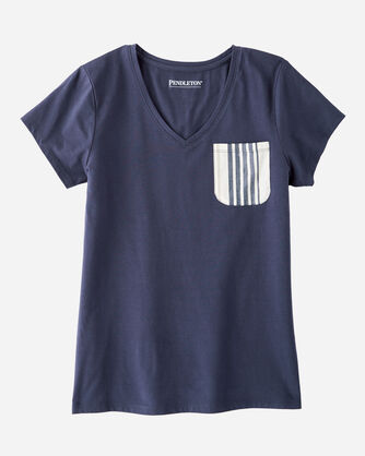 ADDITIONAL VIEW OF WOMEN'S SLEEP TOP WITH WOVEN POCKET IN INDIGO