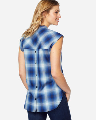 ADDITIONAL VIEW OF JANE WOOL PLAID POPOVER IN BLUE OMBRE