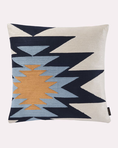 PUEBLO DWELLING EMBROIDERED PILLOW, BLUE MULTI, large