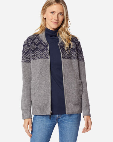 WOMEN'S MOSAIC YOKE ZIP FRONT SWEATER IN GREY