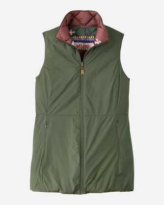 WOMEN'S BRIDGER REVERSIBLE DOWN VEST IN OLIVE/BRIDGER STRIPE