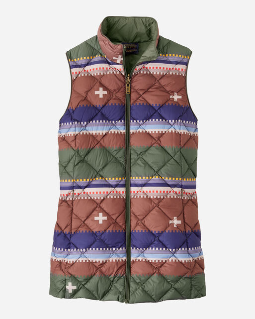 ALTERNATE VIEW OF WOMEN'S BRIDGER REVERSIBLE DOWN VEST IN OLIVE/BRIDGER STRIPE