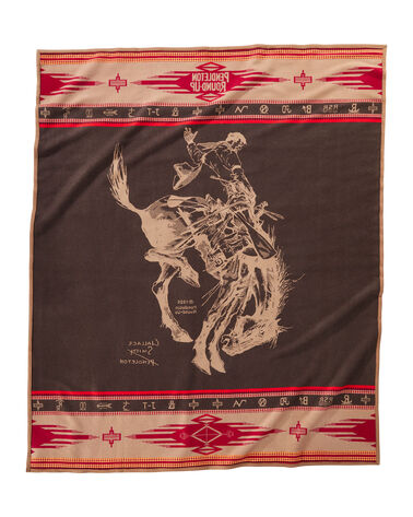 ALTERNATE VIEW OF PENDLETON ROUND-UP COLLECTIBLE BLANKET IN RED/BROWN