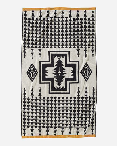 ALTERNATE VIEW OF HARDING JACQUARD SPA TOWEL IN BLACK