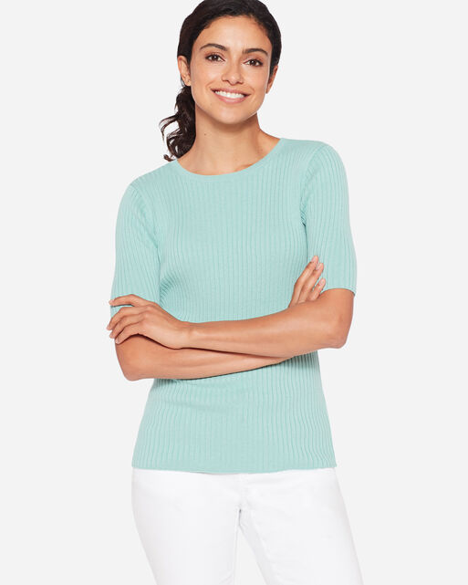 RIBBED PULLOVER CREWNECK, , large