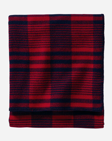 ECO-WISE WOOL PLAID/STRIPE BLANKET, CARDINAL PLAID, large