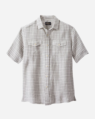 MEN'S MALONE LINEN SHIRT IN GREY/IVORY PLAID