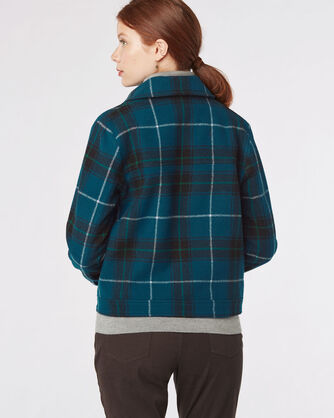 CROP ZIP WOOL PLAID JACKET, , large