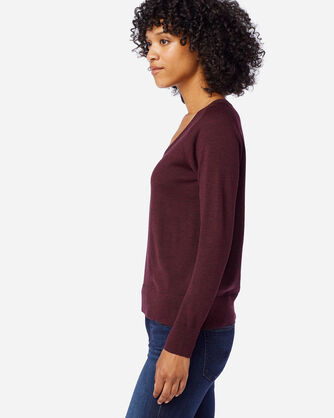 ALTERNATE VIEW OF WOMEN'S TIMELESS MERINO V-NECK SWEATER IN RUSTIC PLUM HEATHER