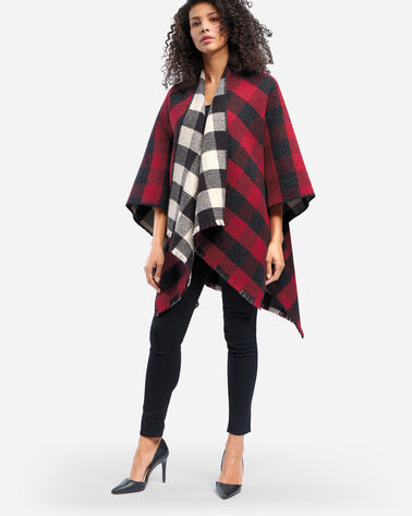 BUFFALO CHECK REVERSIBLE WOOL WRAP IN RED/CHARCOAL