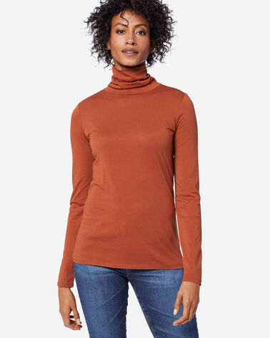 LONG-SLEEVE TURTLENECK JERSEY TEE IN PICANTE