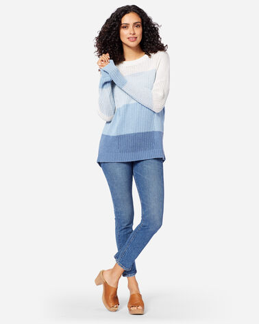 ADDITIONAL VIEW OF WOMEN'S OMBRE CREWNECK SWEATER IN BLUE/IVORY