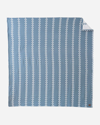 ALTERNATE VIEW OF TRIANGLE TRAIL COTTON BLANKET IN BLUE
