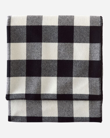 ECO-WISE WOOL PLAID/STRIPE BLANKET IN ROB ROY IVORY FOLDED