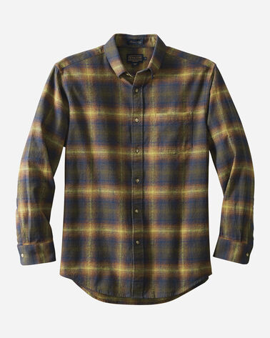 FITTED LISTER FLANNEL SHIRT, OLIVE/BLUE OMBRE, large