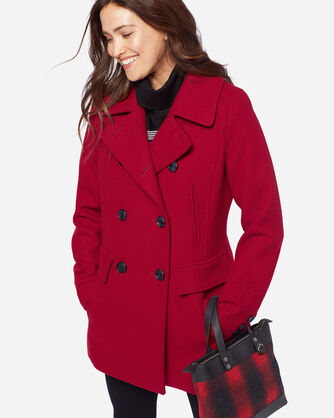 WOOL PEA COAT, RED, large
