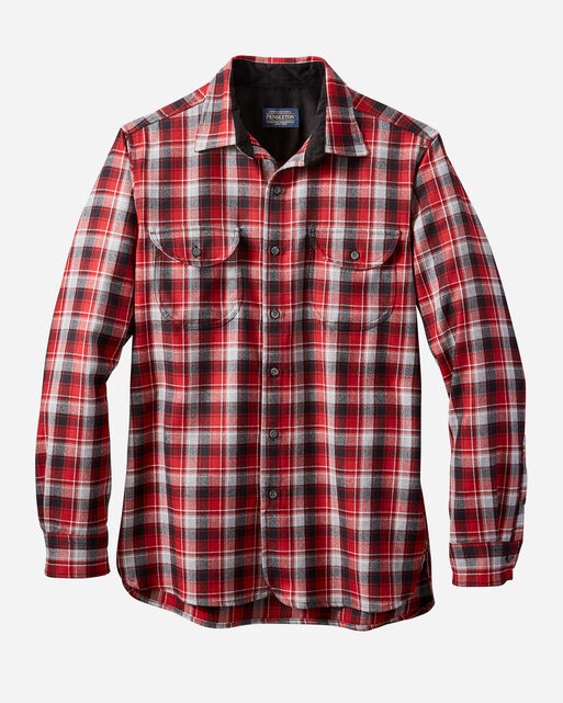 FITTED BUCKLEY AIRLOOM MERINO SHIRT IN RED/GREY PLAID