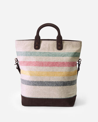 ADDITIONAL VIEW OF GLACIER STRIPE LONG TOTE IN IVORY
