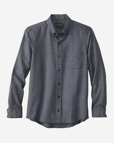 FITTED EVERGREEN WORSTED WOOL SHIRT, BLUE/WHITE HERRINGBONE, large