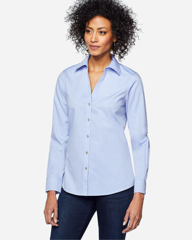 CHRISSY NON-IRON FITTED SHIRT, BLUE WAVE, large